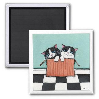 2 de Katten van de smoking in een Doos | de Vierkante Magneet