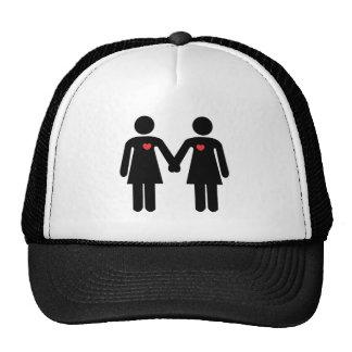 2 de lesbische rente van meisjes van Gebogen Trucker Petten