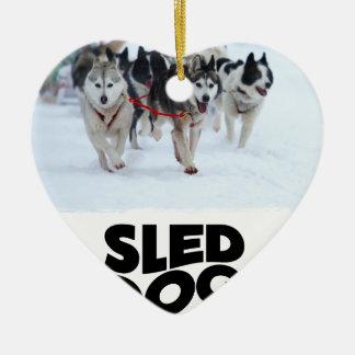 2 Februari - de Dag van de Hond van de Slee Keramisch Hart Ornament