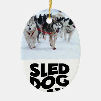 2 Februari - de Dag van de Hond van de Slee Keramisch Ovaal Ornament