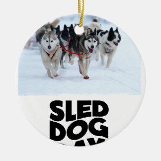 2 Februari - de Dag van de Hond van de Slee Rond Keramisch Ornament