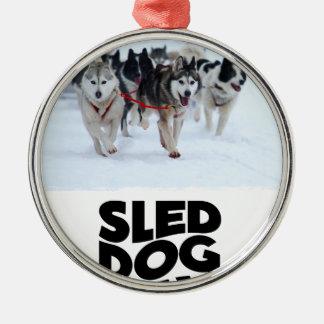 2 Februari - de Dag van de Hond van de Slee Zilverkleurig Rond Ornament