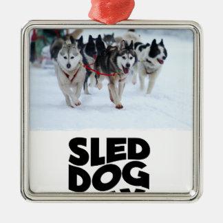 2 Februari - de Dag van de Hond van de Slee Zilverkleurig Vierkant Ornament