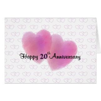 2 het Gelukkige 20ste Jubileum van harten Briefkaarten 0