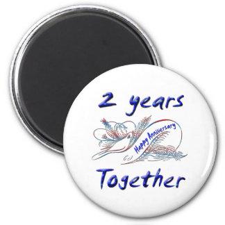 2 jaar samen ronde magneet 5,7 cm