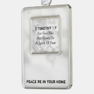 2 timoteegras 1-7 voor God Verzilverd Omlijst Ornament