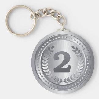 2de de plaatswinnaar van de zilveren medaille basic ronde button sleutelhanger