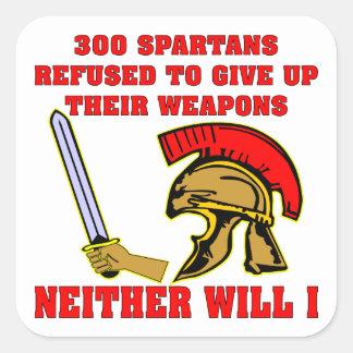 300 Spartaans Geweigerd om Hun Wapens op te geven Vierkante Sticker
