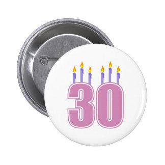 30 de Kaarsen van de verjaardag (Roze/Paars) Speldbuttons