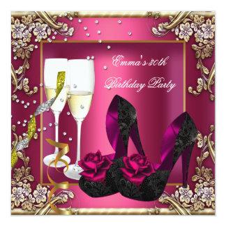 30ste Bloemen van de Partij van de Verjaardag 13,3x13,3 Vierkante Uitnodiging Kaart