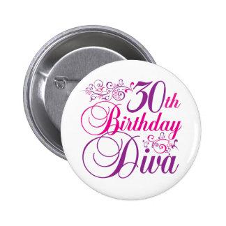 30ste Diva van de Verjaardag Ronde Button 5,7 Cm
