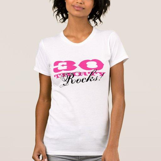 30ste overhemd   van de Verjaardag Dertig Rotsen! T-shirt