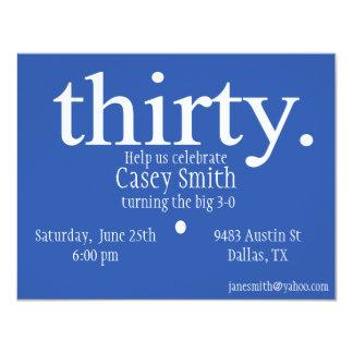 30ste verjaardag - dertig - grote 3-0 nodigt uit 10,8x13,9 uitnodiging kaart