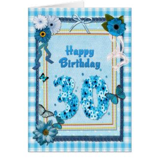 30ste Verjaardag met een plakboekeffect Kaart