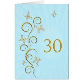 30ste Verjaardag met gouden vlinders Wenskaart