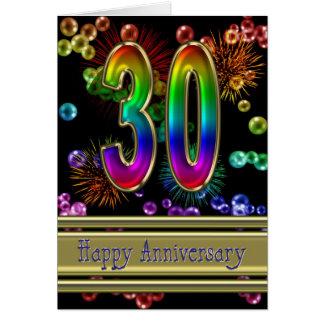 30ste verjaardag met vuurwerk en bellen wenskaart