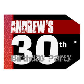 30ste Verjaardag Modern voor hem Rode Witte Zwarte Persoonlijke Aankondiging