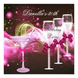 30ste Verjaardag Roze Martini Champagne 13,3x13,3 Vierkante Uitnodiging Kaart
