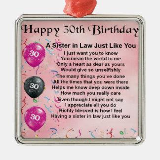 30ste Verjaardag - Zuster in het Gedicht van de Zilverkleurig Vierkant Ornament