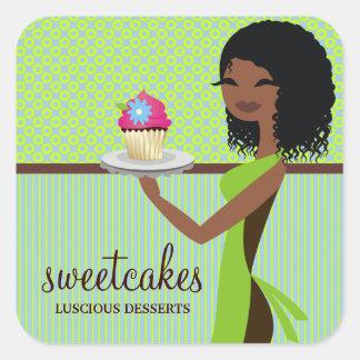 311 Cupcake Cutie Blauwgroene Afrikaanse Amerikaan Vierkante Sticker