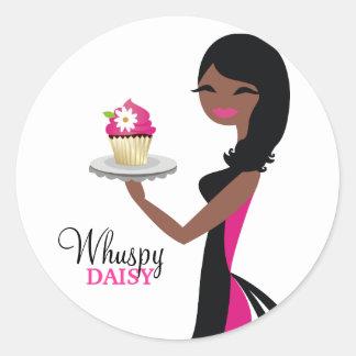 311 Daisy Cupcake Cutie African American Ronde Sticker