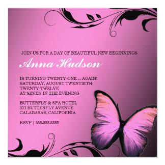 311 de glanzende Roze Steenbolk van de Vlinder 13,3x13,3 Vierkante Uitnodiging Kaart