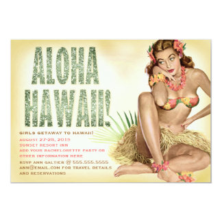 311 Retro Meisje Pinup van Aloha Hawaï 12,7x17,8 Uitnodiging Kaart