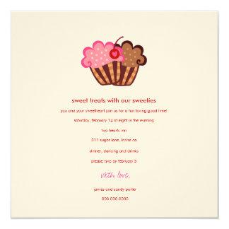 311-SweetCakes Valentijnsdag 13,3x13,3 Vierkante Uitnodiging Kaart