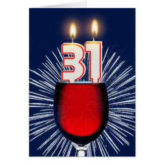 31ste Verjaardag met wijn en kaarsen Briefkaarten 0