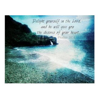 37:4 van de Psalm van het Vers van de Bijbel van Briefkaart