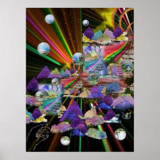3-D de Vensters van het gebrandschilderd glas Poster