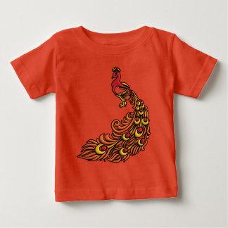 3-D Pauw met Rood, Oranje en Geel Gevederte Baby T Shirts