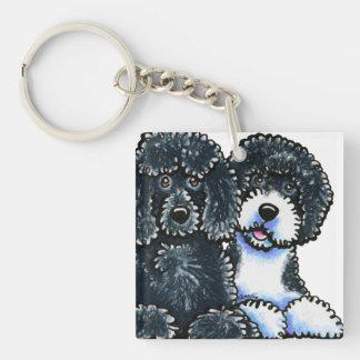 3 de Portugese Honden van het Water 1-Zijde Vierkante Acryl Sleutelhanger