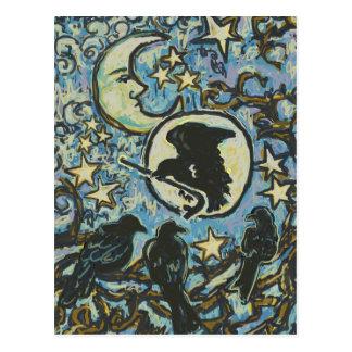 3 kraaien bij Schemer, het Briefkaart van de Kunst