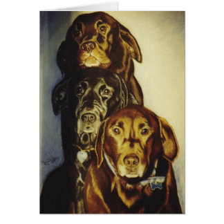 """3 Labradors "" Kaart"