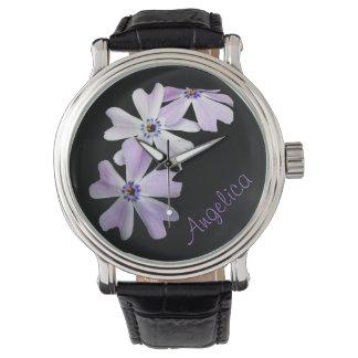 3 paarse Bloemen Gepersonaliseerd Horloge