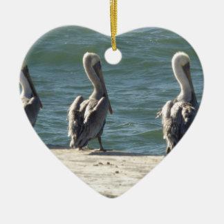 3 pelikanen keramisch hart ornament