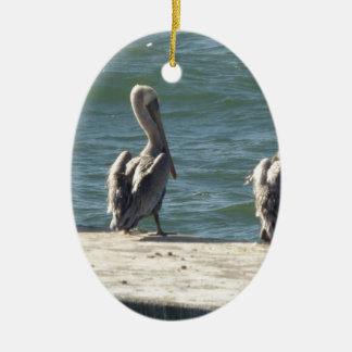 3 pelikanen keramisch ovaal ornament