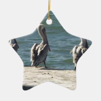 3 pelikanen keramisch ster ornament
