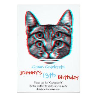 3d, 3d kat van de kat, zwart-witte kat 12,7x17,8 uitnodiging kaart