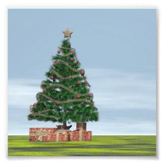 3D achtergrond van de kerstboom - geef terug Foto Afdruk