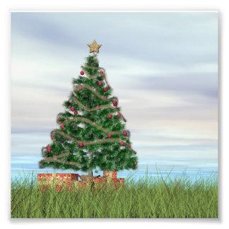 3D achtergrond van de kerstboom - geef terug Fotoafdruk