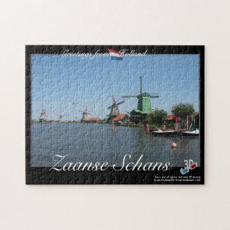 3D Anaglyph van de Windmolens van Holland Zaanse S Foto Puzzels