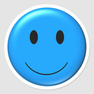 3D Blauwe Smiley Ronde Sticker