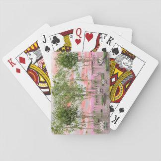 3D bloemen en bamboe van Lotus - geef terug Pokerkaarten