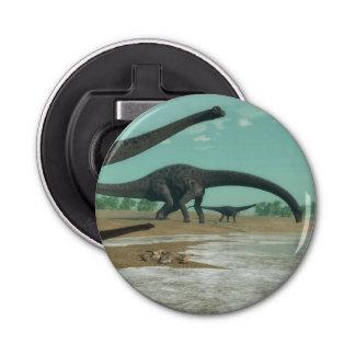 3D de dinosaurussenkudde van Diplodocus - geef Button Flesopener