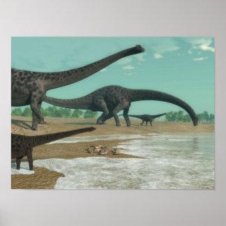 3D de dinosaurussenkudde van Diplodocus - geef Poster