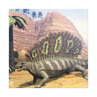 3D dinosaurus van Edaphosaurus - geef terug Canvas Print