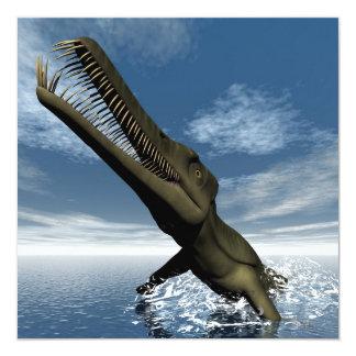 3D dinosaurus van Mesosaurus - geef terug 13,3x13,3 Vierkante Uitnodiging Kaart