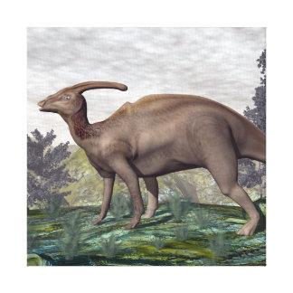 3D dinosaurus van Parasaurolophus - geef terug Canvas Print